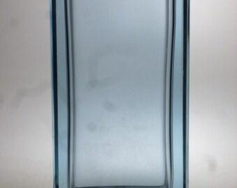 Czech art glass cut vase, alexandrite glass
