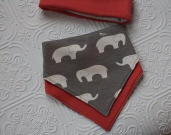 bandana bibs, organic cotton knit drool bib, reversible bandana bib, elephant, baby bandana bib