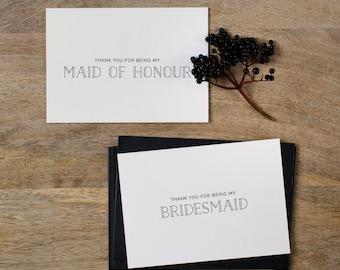 4 x Bridesmaid Thank You Card, Thank You For Being My Maid of Honor, Thank You Card Bridesmaid, Bridesmaid Gift, Thank You Wedding Cards, K5