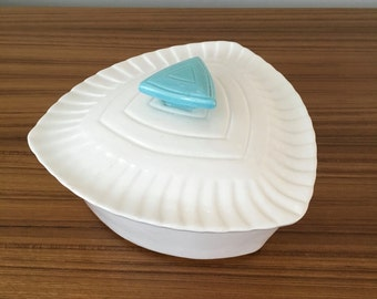 California Pottery White and Turquoise Lidded Dish, California Pottery Serving Dish