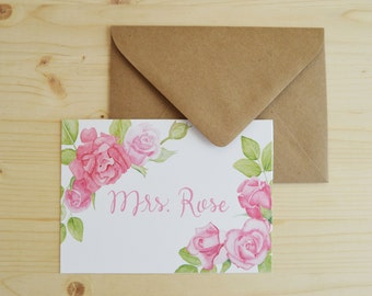 Rose Name Cards- Rose Stationary Cards- Watercolor Rose Cards- Personalized Name Cards