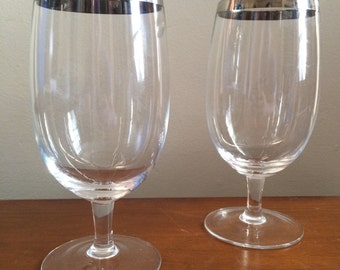 Silver Rimmed Wine Glasses / Beer Steins in the style of Dorothy Thorpe