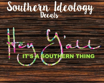 Car Decal, Hey Y'all Decal in Beautiful Vibrant Printed Vinyl Patterns