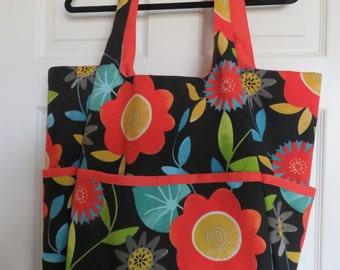 Beach Bag by Photo-Totes Black/Orange Floral