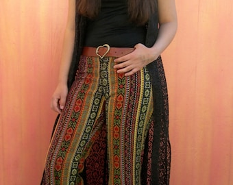 1960s Happy Legs Tapestry Carpet Bag Multi Color Wide Flare Pants~  ~ Women's size Small~ See Dimensions