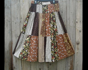 Vintage 90s Patchwork Tiered Circle Skirt~Sag Harbor~ Made in India~100% cotton ~ Medium to Large, But See Dimensions