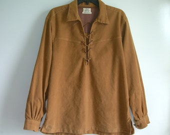 Vintage 60s 70s London Custom Styled all cotton 'Suede Look' Hippie Shirt~US Mens Medium to Large ~ See Dimensions