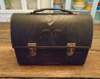 Vintage Black Metal Lunch Box