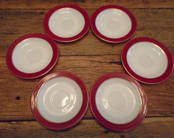 Vintage Royal Burgundy Pyrex Saucers (6)