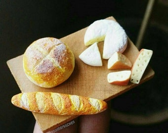 Polymer clay handmade Miniature food- Dollhouse miniatures- Bread and Cheese tray
