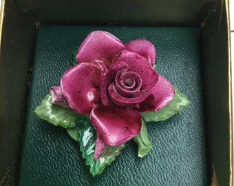 Vintage, Fine bone china crown, Staffordshire England.  Pink rose brooch