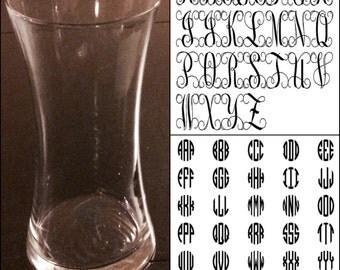 "Monogrammed 8"" glass vase"