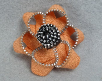 Orange Flower Brooch - Upcycled - Recycled - Repurposed - Flower Brooch - Zipper Brooch - Zipper Pin - Zipper Flower - Flower Pin - Jewelry