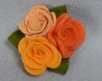 Felt Flower Brooch - Orange Flower Pin, Felt Pin, Felt Brooch, Fabric Flower, Felt Flower Pin, Felt Jewelry, Rose Brooch, Rose Pin