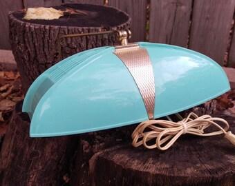 SALE Vintage Art Deco Headboard Blue Plastic Light/Lamp