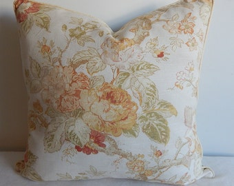 Flowers linen pillow cover, throw pillow,decorative pillow,accent pillow same fabric on both sides.