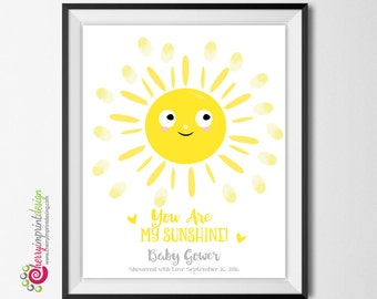 Personalized You Are My Sunhine Baby Shower/Birthday Guest Book Fingerprint -DIY Printable