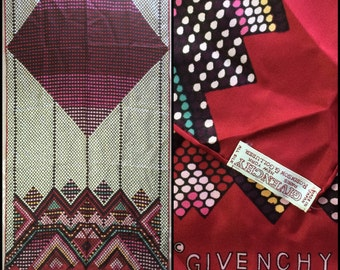 designer for givenchy 5rv7  Vintage Designer Givenchy hand rolled Long Silk Scarf 15x46 made in Japan  geometric Polka Dots Art Deco Red Pink Burgundy Paris New York