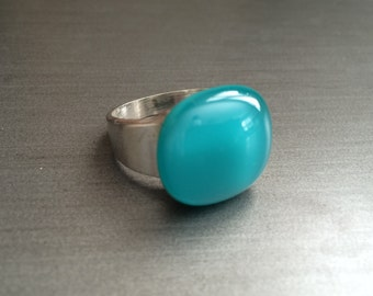 Dark Teal fused glass ring