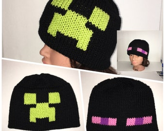 Reversible Minecraft Beanie - 2 in one - Enderman Beanie - Creeper Hat - Minecrafts - Halloween Costume