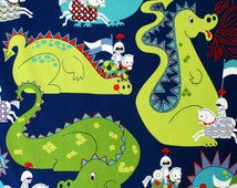 Fabric, Knight Meets Dragon, Navy Blue and Green, Alexander Henry, By The Yard