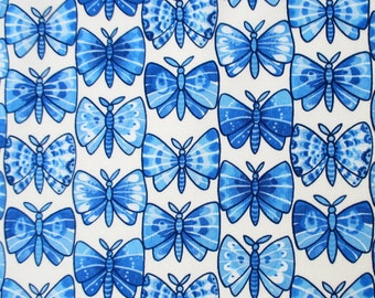 Fabric, Luminaria Butterfly, Julie Paschkis, Blue Butterflies on White, By The Yard