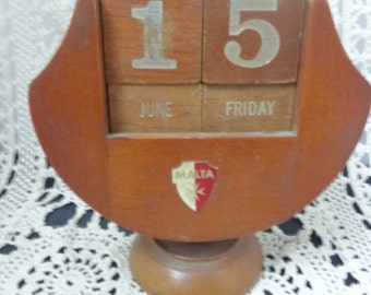 Vintage Perpetual Calendar Wood Malta Calendar Wood Calander Vintage Wood Calendar