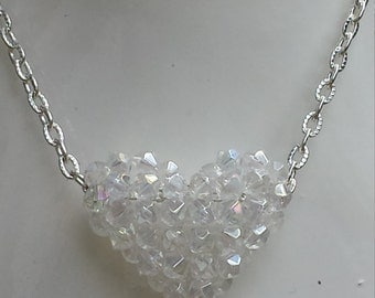 Swarovski Crystal Puffy Heart Pendent/Necklace