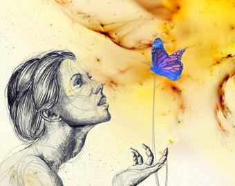 "Female Figure with Butterfly Modern Art 12""x12"" Archival Inkjet Print on Semi-Gloss Epson Photo Paper"