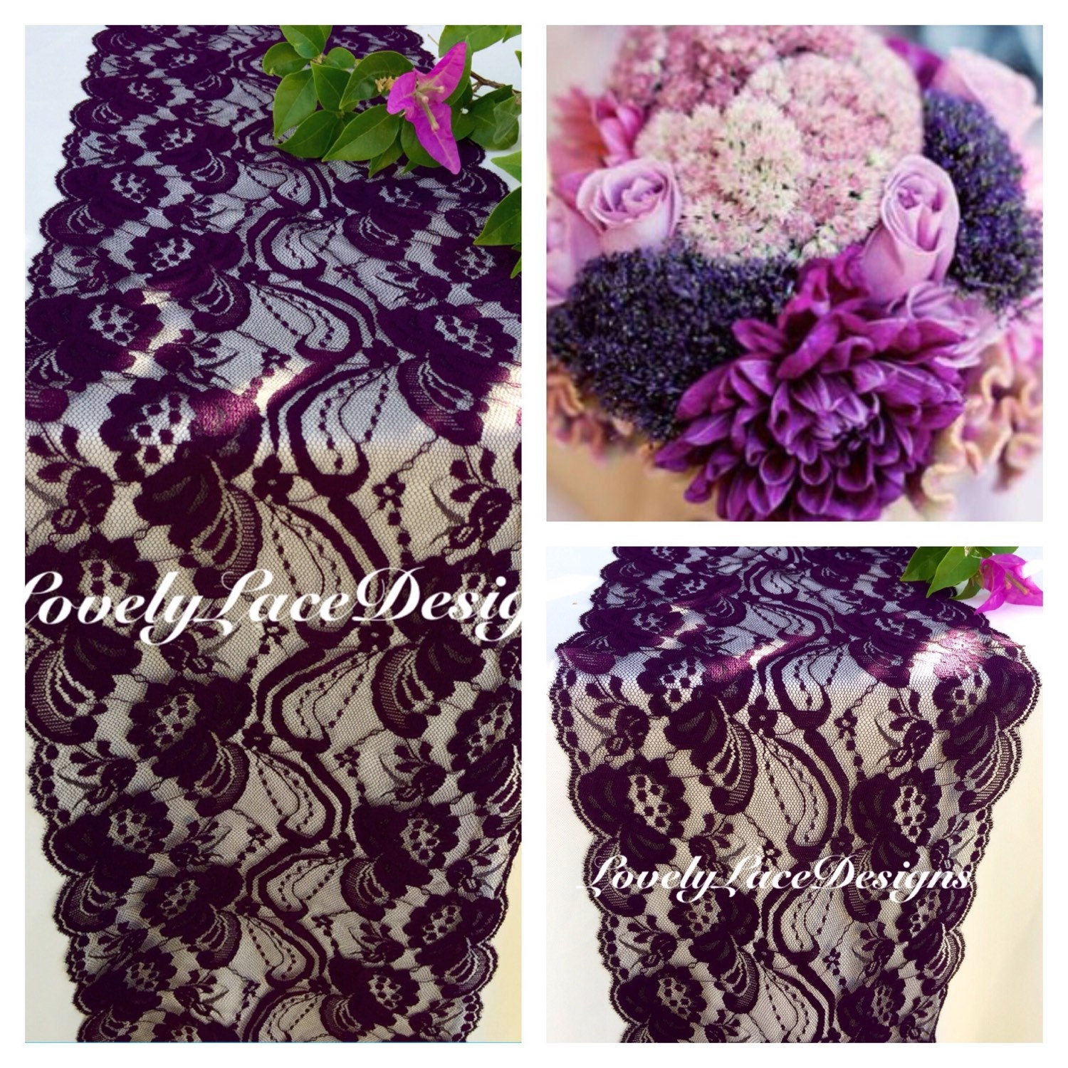 Plum Lace Table Runner/3ft 10ft X 7 Wide/receptions / Overlay/Tabletop  Decor/Reception Decoration/Ends Not Sewn/Free Runner