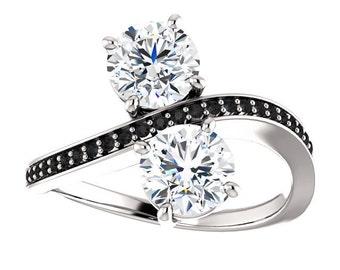 2 Forever One Engagement Ring| Black Diamonds| 14k White Gold| 2 Diamonds Engagement Ring| Contemporary Engagement Ring