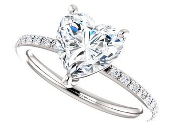 Heart Shape SuperNova Moissanite Engagement Ring| Diamond Simulant| 14k Gold| Contemporary Engagement Ring| Diamond Alternative