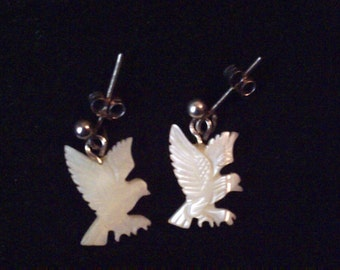 Vintage silver earrings with carved bird Mother of Pearl drops