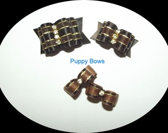Puppy Bows ~ Brown Gold rhinestone centers SHOW BOW Shih Tzu pet hair  ~USA seller
