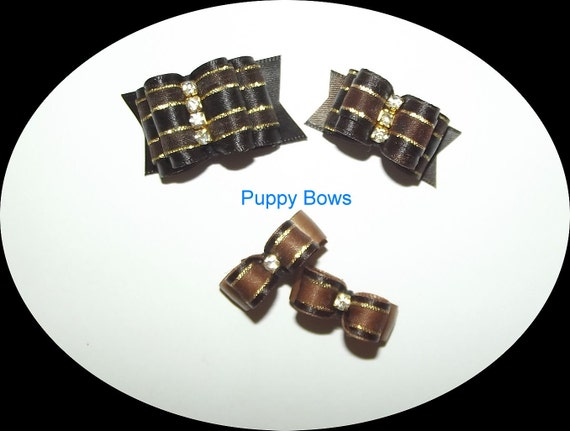 Puppy Bows ~ Brown Gold rhinestone centers SHOW BOW Shih Tzu pet hair  ~USA seller   (fb30)
