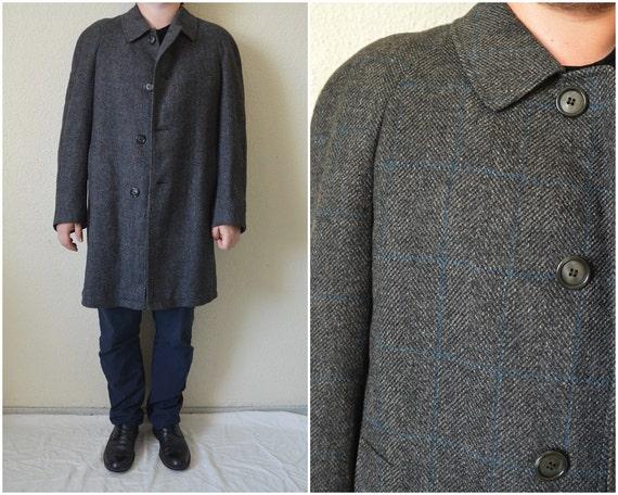 Men's 1960's Grey herringbone Mod pea coat Large (42) xuSgQDqu2x