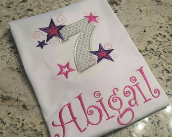 Blingy 7th birthday shirt with name