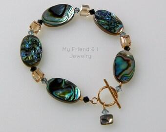 Abalone Shell Swarovski Crystal 14K Gold Fill Bracelet DB145