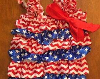 Patriotic Lace Petti Romper and Headband Set
