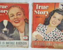 Lot of 2 True Story Vintage Magazines from 1944 and 1945 Sheila Ryan Like a letter from a sweetheart Love in double Harness collectible ads