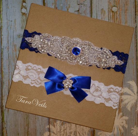 Tradition Of Wedding Garter: Wedding Garter Set White Blue Color Garter SetRhinestone