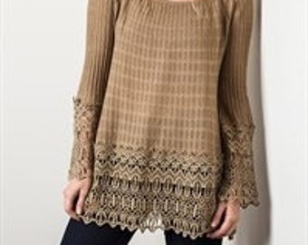 Women's Sizw 2XL Taupe Lace Trimmed Tunic Top