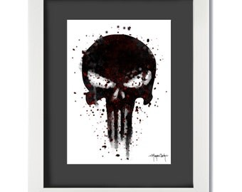 The Punisher - Instant Download - Comic Book Art - Comic Art - Watercolor - Printable Art - Art Prints - Decor - Wall Art - Punisher - Skull
