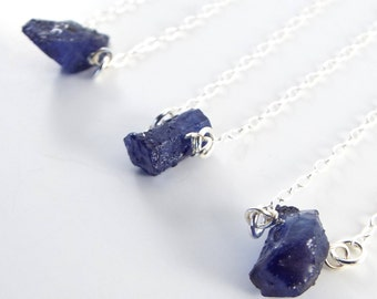 Raw Sapphire Captive Stone  Necklace ( 1 Necklace)