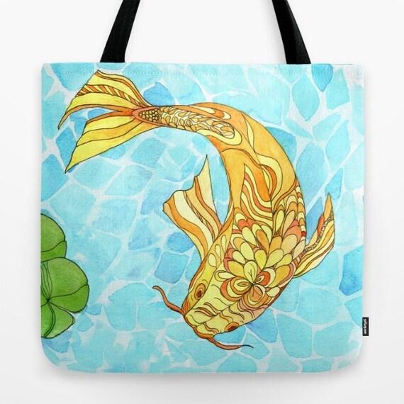 Items similar to koi fish tote bag zen garden pond aqua for Koi fish purse