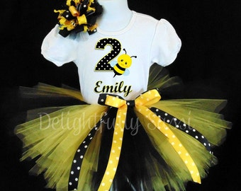 Bumble Bee Birthday Tutu, Bumble Bee Tutu, Personalized Birthday Tutu Set, Birthday Tutu Outfit, Girls Tutu