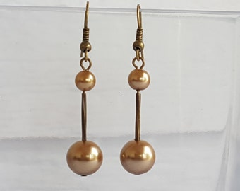 Brown Glass Pearl Antique Vintage Gold Drop Earrings