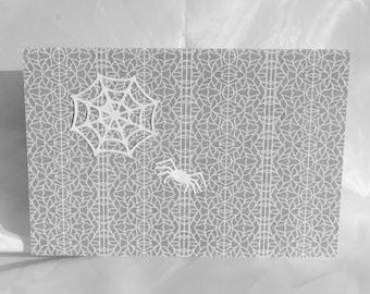 half price clearance sale white spider & web grey halloween card