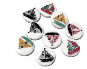 20 Seaside Buttons Round Wooden 15mm Mixed Colours - Painted Wood Yacht  Sailing Boat Bright Embellishments Scrapbooking WB10