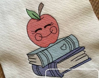 Apple with Books Sketch Embroidery Design - school Sketch Embroidery Design - teacher Sketch Embroidery Design - apple Sketch Embroidery